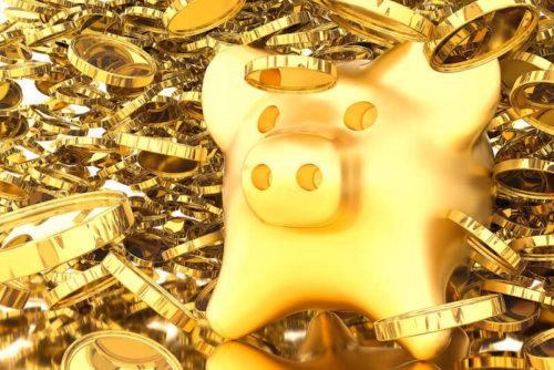金色のコインとぶた